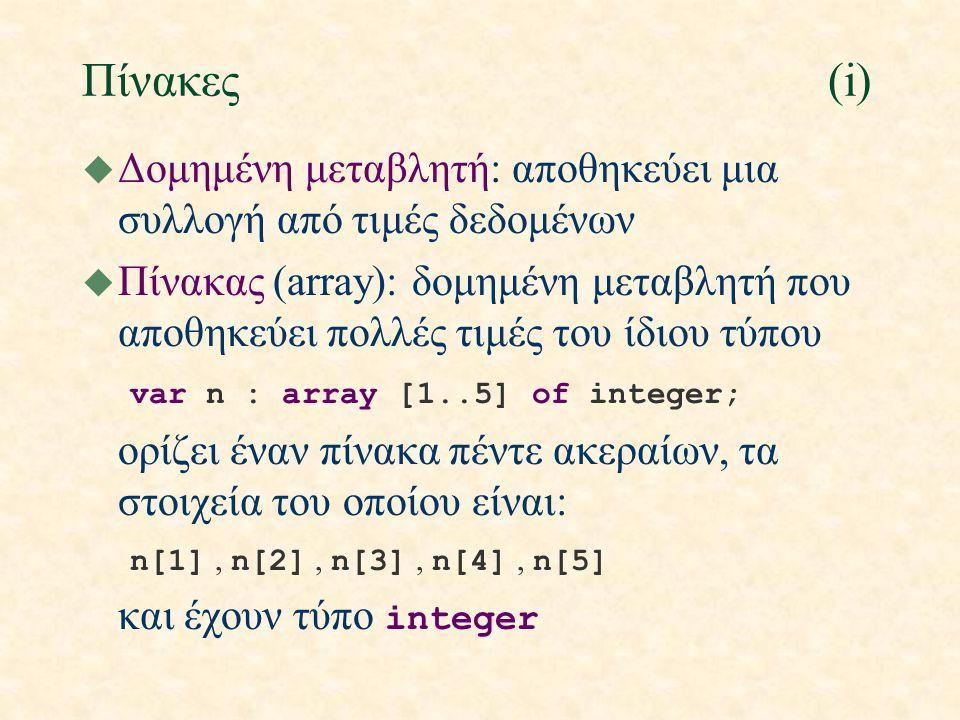 Πίνακες(i) u Δομημένη μεταβλητή: αποθηκεύει μια συλλογή από τιμές δεδομένων u Πίνακας (array): δομημένη μεταβλητή που αποθηκεύει πολλές τιμές του ίδιο