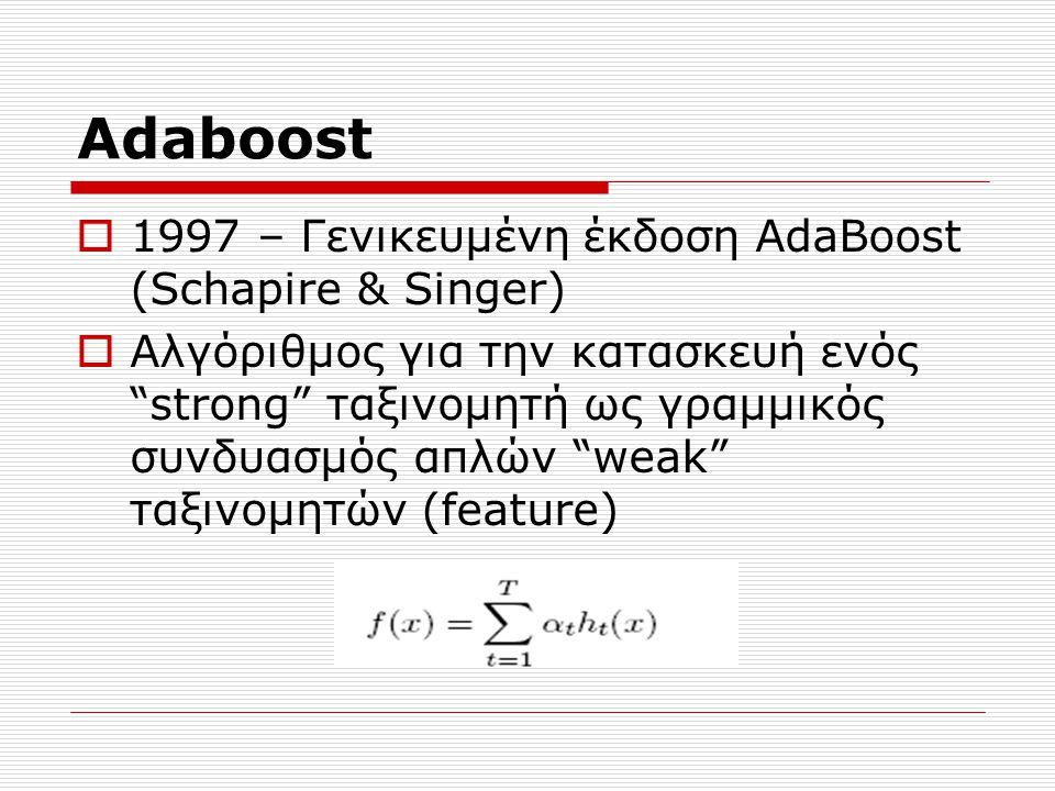Adaboost  1997 – Γενικευμένη έκδοση AdaBoost (Schapire & Singer)  Αλγόριθμος για την κατασκευή ενός strong ταξινομητή ως γραμμικός συνδυασμός απλών weak ταξινομητών (feature)