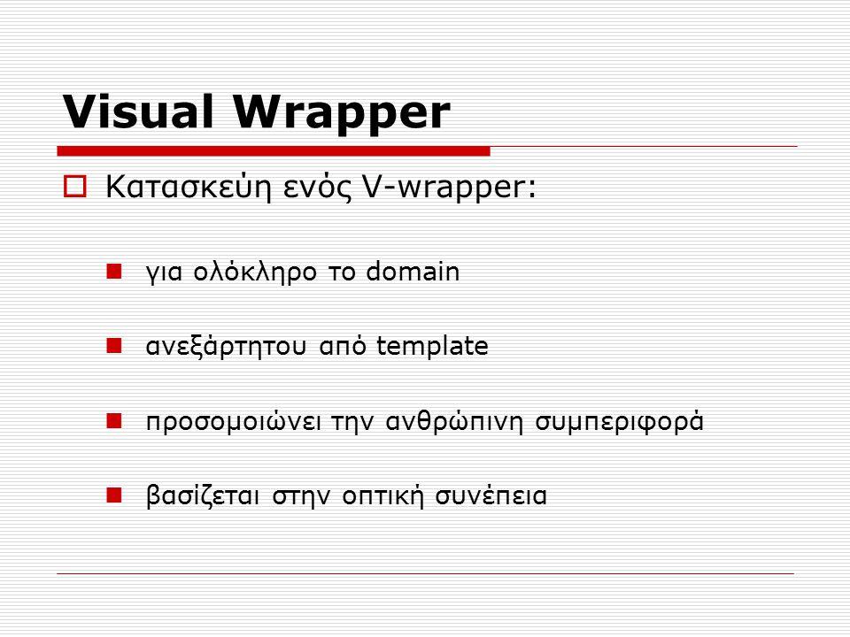 Visual Wrapper  Κατασκεύη ενός V-wrapper: για ολόκληρο το domain ανεξάρτητου από template προσομοιώνει την ανθρώπινη συμπεριφορά βασίζεται στην οπτική συνέπεια