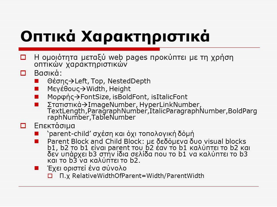 Οπτικά Χαρακτηριστικά  Η ομοιότητα μεταξύ web pages προκύπτει με τη χρήση οπτικών χαρακτηριστικών  Βασικά: Θέσης  Left, Top, NestedDepth Μεγέθους  Width, Height Μορφής  FontSize, isBoldFont, isItalicFont Στατιστικά  ImageNumber, HyperLinkNumber, TextLength,ParagraphNumber,ItalicParagraphNumber,BoldParg raphNumber,TableNumber  Επεκτάσιμα 'parent-child' σχέση και όχι τοπολογική δόμή Parent Block and Child Block: με δεδόμενα δυο visual blocks b1, b2 το b1 είναι parent του b2 έαν το b1 καλύπτει το b2 και δεν υπάρχει b3 στην ίδια σελίδα που το b1 να καλύπτει το b3 και το b3 να καλύπτει το b2.