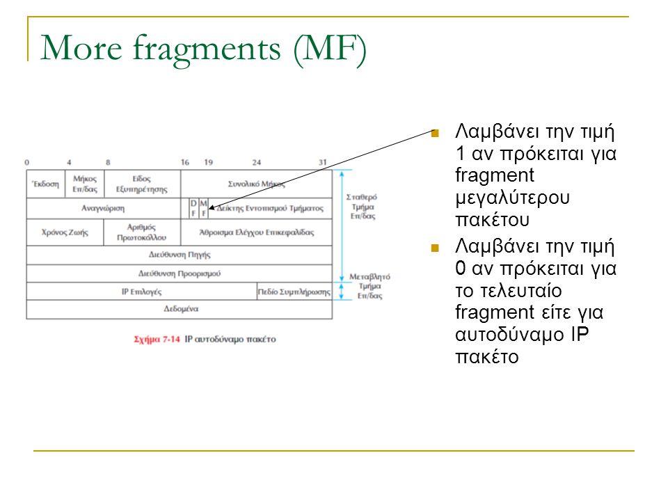 More fragments (MF) Λαμβάνει την τιμή 1 αν πρόκειται για fragment μεγαλύτερου πακέτου Λαμβάνει την τιμή 0 αν πρόκειται για το τελευταίο fragment είτε
