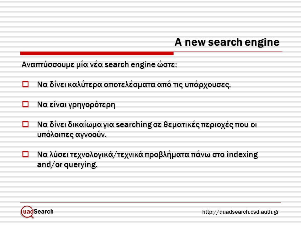 A new search engine Αναπτύσσουμε μία νέα search engine ώστε:  Να δίνει καλύτερα αποτελέσματα από τις υπάρχουσες.