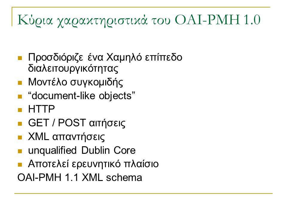Κύρια χαρακτηριστικά του OAI-PMH 1.0 Προσδιόριζε ένα Χαμηλό επίπεδο διαλειτουργικότητας Μοντέλο συγκομιδής document-like objects HTTP GET / POST αιτήσεις XML απαντήσεις unqualified Dublin Core Αποτελεί ερευνητικό πλαίσιο OAI-PMH 1.1 XML schema