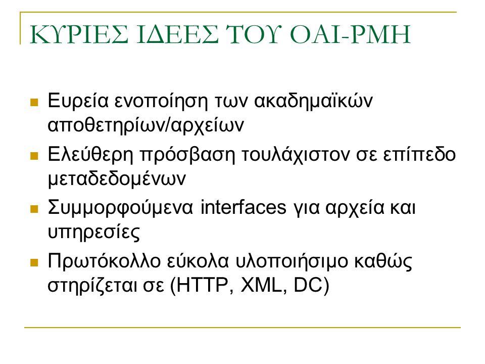 ΚΥΡΙΕΣ ΙΔΕΕΣ ΤΟΥ OAI-PMH Ευρεία ενοποίηση των ακαδημαϊκών αποθετηρίων/αρχείων Ελεύθερη πρόσβαση τουλάχιστον σε επίπεδο μεταδεδομένων Συμμορφούμενα interfaces για αρχεία και υπηρεσίες Πρωτόκολλο εύκολα υλοποιήσιμο καθώς στηρίζεται σε (HTTP, XML, DC)