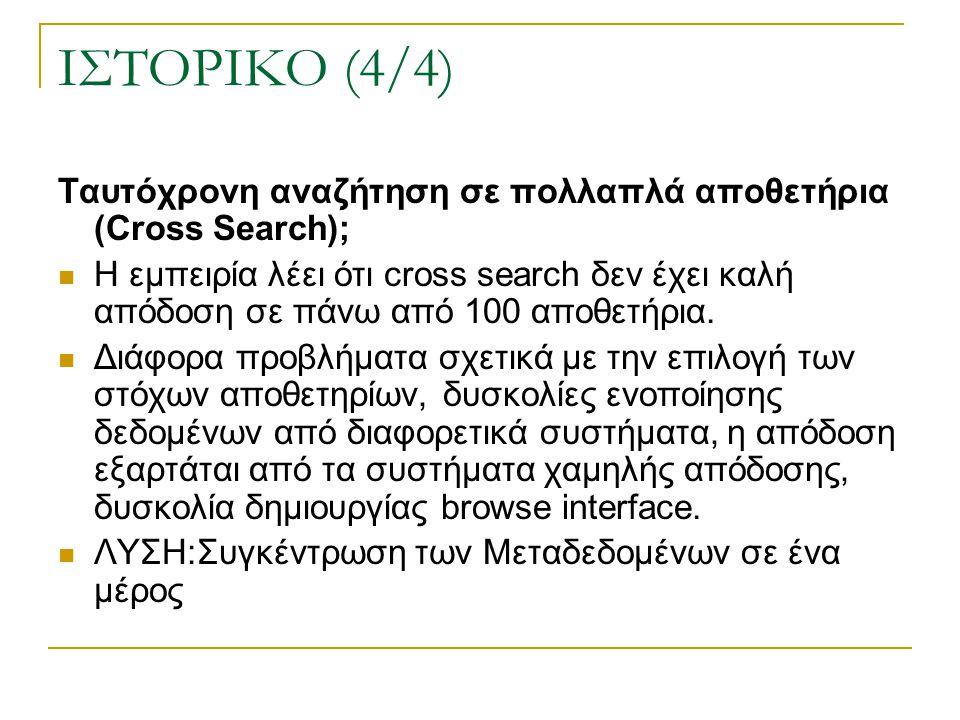 ΙΣΤΟΡΙΚΟ (4/4) Ταυτόχρονη αναζήτηση σε πολλαπλά αποθετήρια (Cross Search); Η εμπειρία λέει ότι cross search δεν έχει καλή απόδοση σε πάνω από 100 αποθετήρια.
