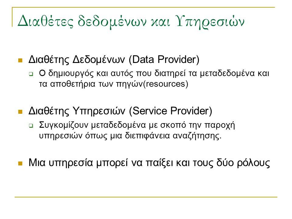 Διαθέτες δεδομένων και Υπηρεσιών Διαθέτης Δεδομένων (Data Provider)  Ο δημιουργός και αυτός που διατηρεί τα μεταδεδομένα και τα αποθετήρια των πηγών(resources) Διαθέτης Υπηρεσιών (Service Provider)  Συγκομίζουν μεταδεδομένα με σκοπό την παροχή υπηρεσιών όπως μια διεπιφάνεια αναζήτησης.