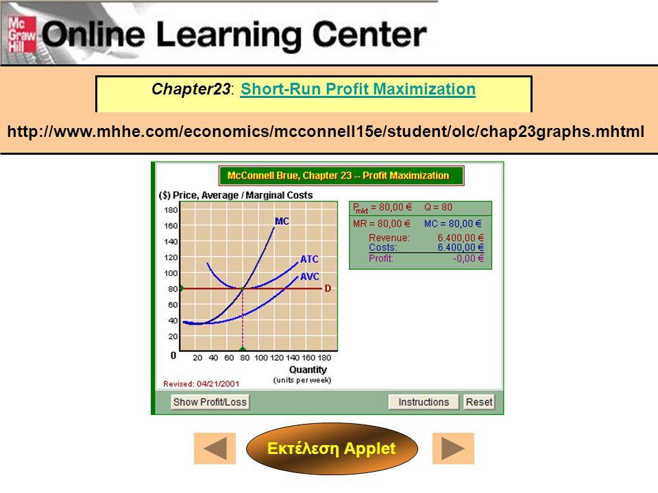 Chapter23: Short-Run Profit MaximizationShort-Run Profit Maximization http://www.mhhe.com/economics/mcconnell15e/student/olc/chap23graphs.mhtml Εκτέλε