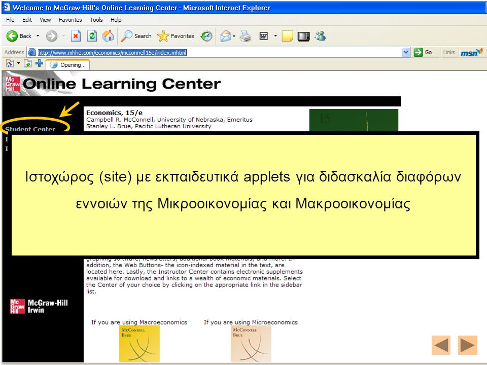 The Economics Net-TextBook http://nova.umuc.edu/~black/pageg.html Ιστοχώρος (site) με εκπαιδευτικά applets για διδασκαλία διαφόρων εννοιών της Μικροοικονομίας και Μακροοικονομίας