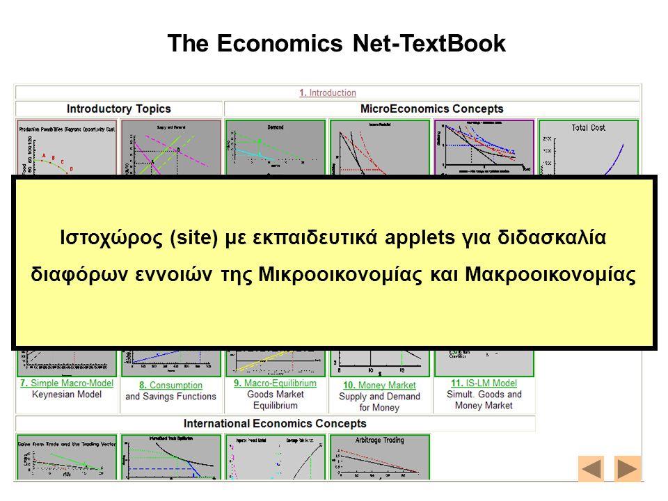 The Economics Net-TextBook http://nova.umuc.edu/~black/pageg.html Ιστοχώρος (site) με εκπαιδευτικά applets για διδασκαλία διαφόρων εννοιών της Μικροοι