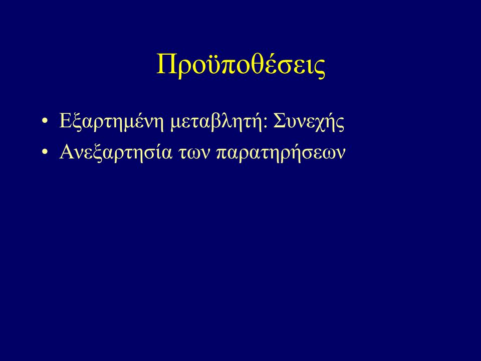 Προϋποθέσεις Εξαρτημένη μεταβλητή: Συνεχής Ανεξαρτησία των παρατηρήσεων