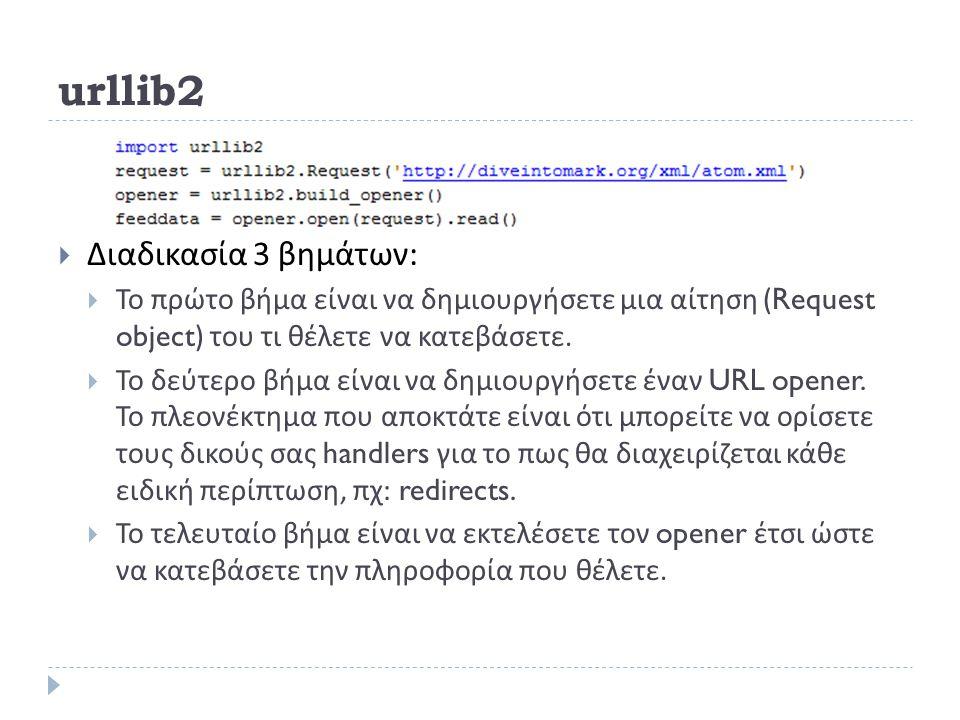 urllib2  Διαδικασία 3 βημάτων :  Το πρώτο βήμα είναι να δημιουργήσετε μια αίτηση (Request object) του τι θέλετε να κατεβάσετε.