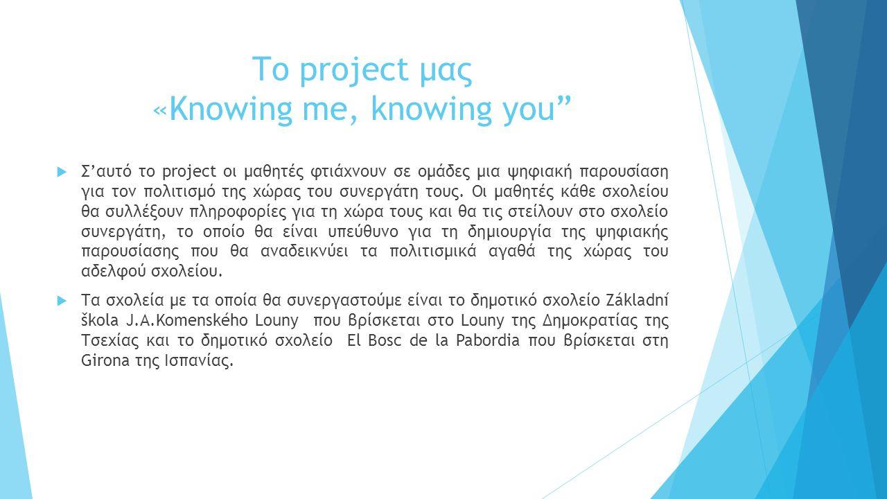 Το project μας «Knowing me, knowing you  Σ'αυτό το project οι μαθητές φτιάχνουν σε ομάδες μια ψηφιακή παρουσίαση για τον πολιτισμό της χώρας του συνεργάτη τους.
