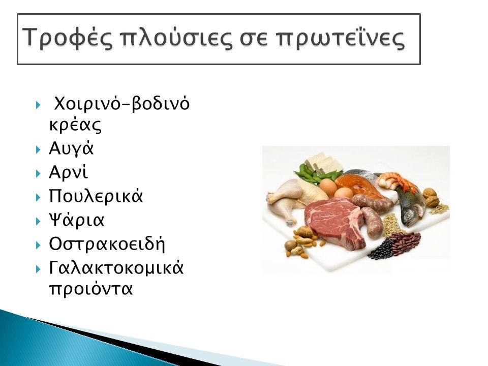  Χοιρινό-βοδινό κρέας  Αυγά  Αρνί  Πουλερικά  Ψάρια  Οστρακοειδή  Γαλακτοκομικά προιόντα