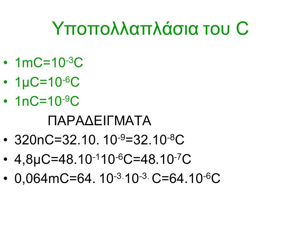 Υποπολλαπλάσια του C 1mC=10 -3 C 1μC=10 -6 C 1nC=10 -9 C ΠΑΡΑΔΕΙΓΜΑΤΑ 320nC=32.10.