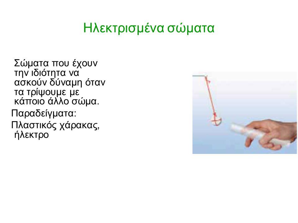 Ηλεκτρισμένα σώματα Σώματα που έχουν την ιδιότητα να ασκούν δύναμη όταν τα τρίψουμε με κάποιο άλλο σώμα. Παραδείγματα: Πλαστικός χάρακας, ήλεκτρο