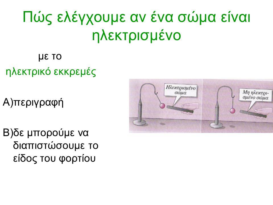 Πώς ελέγχουμε αν ένα σώμα είναι ηλεκτρισμένο με το ηλεκτρικό εκκρεμές Α)περιγραφή Β)δε μπορούμε να διαπιστώσουμε το είδος του φορτίου
