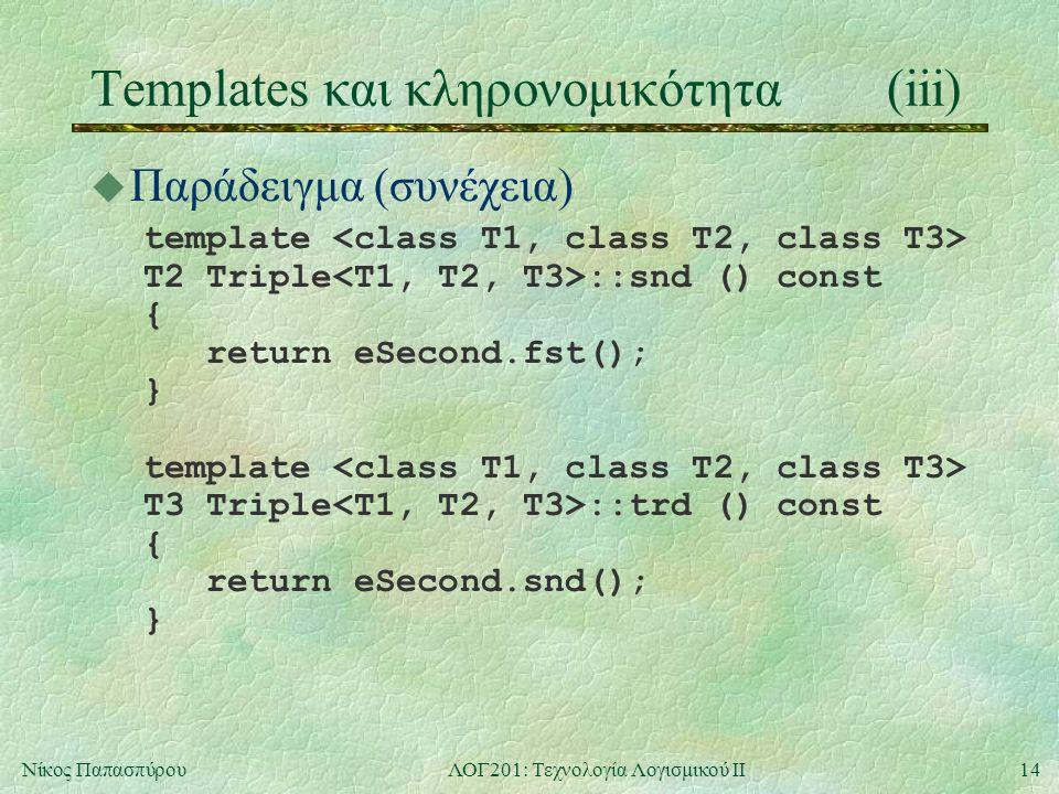 14Νίκος ΠαπασπύρουΛΟΓ201: Τεχνολογία Λογισμικού ΙΙ Templates και κληρονομικότητα(iii) u Παράδειγμα (συνέχεια) template T2 Triple ::snd () const { return eSecond.fst(); } template T3 Triple ::trd () const { return eSecond.snd(); }