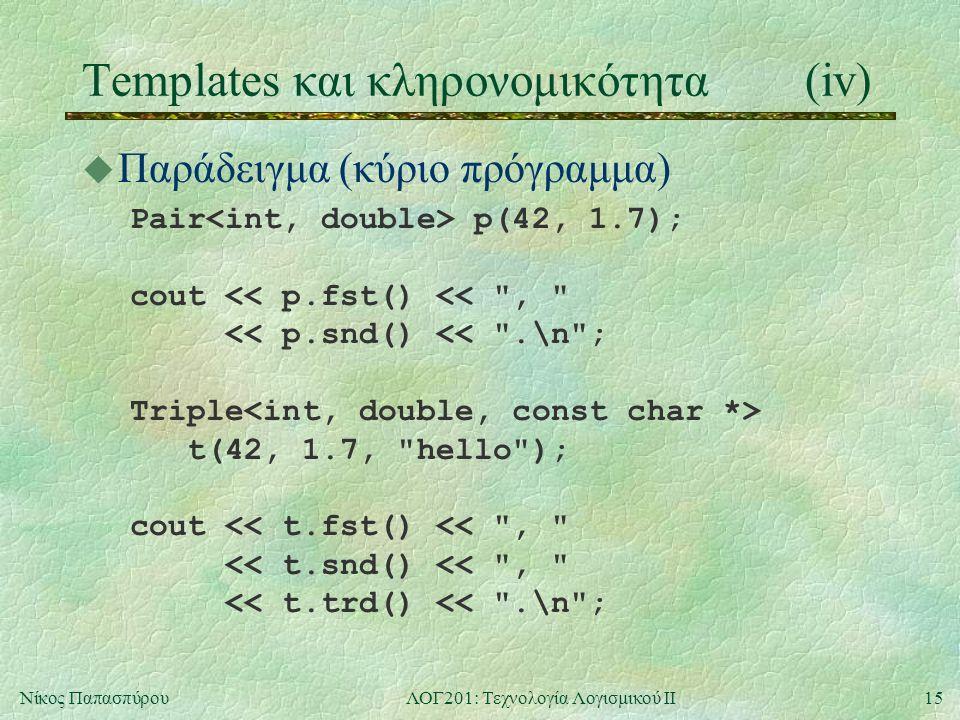 15Νίκος ΠαπασπύρουΛΟΓ201: Τεχνολογία Λογισμικού ΙΙ Templates και κληρονομικότητα(iv) u Παράδειγμα (κύριο πρόγραμμα) Pair p(42, 1.7); cout << p.fst() << , << p.snd() << .\n ; Triple t(42, 1.7, hello ); cout << t.fst() << , << t.snd() << , << t.trd() << .\n ;