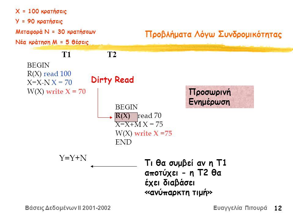 Βάσεις Δεδομένων II 2001-2002 Ευαγγελία Πιτουρά 12 Προβλήματα Λόγω Συνδρομικότητας BEGIN R(X) read 100 X=Χ-N X = 70 W(X) write X = 70 T1 T2 Προσωρινή Ενημέρωση BEGIN R(X) read 70 X=Χ+M X = 75 W(X) write X =75 END Y=Y+N Τι θα συμβεί αν η Τ1 αποτύχει - η Τ2 θα έχει διαβάσει «ανύπαρκτη τιμή» Dirty Read Χ = 100 κρατήσεις Υ = 90 κρατήσεις Μεταφορά Ν = 30 κρατήσεων Νέα κράτηση Μ = 5 θέσεις