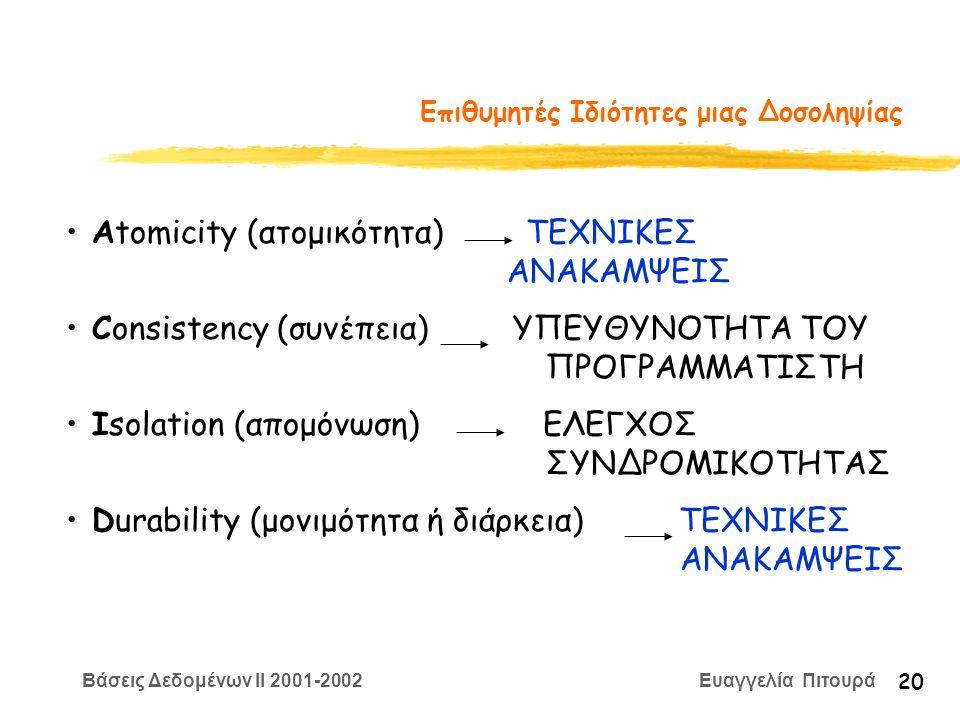Βάσεις Δεδομένων II 2001-2002 Ευαγγελία Πιτουρά 20 Επιθυμητές Ιδιότητες μιας Δοσοληψίας Αtomicity (ατομικότητα) ΤΕΧΝΙΚΕΣ ΑΝΑΚΑΜΨΕΙΣ Consistency (συνέπεια) ΥΠΕΥΘΥΝΟΤΗΤΑ ΤΟΥ ΠΡΟΓΡΑΜΜΑΤΙΣΤΗ Isolation (απομόνωση) ΕΛΕΓΧΟΣ ΣΥΝΔΡΟΜΙΚΟΤΗΤΑΣ Durability (μονιμότητα ή διάρκεια) ΤΕΧΝΙΚΕΣ ΑΝΑΚΑΜΨΕΙΣ