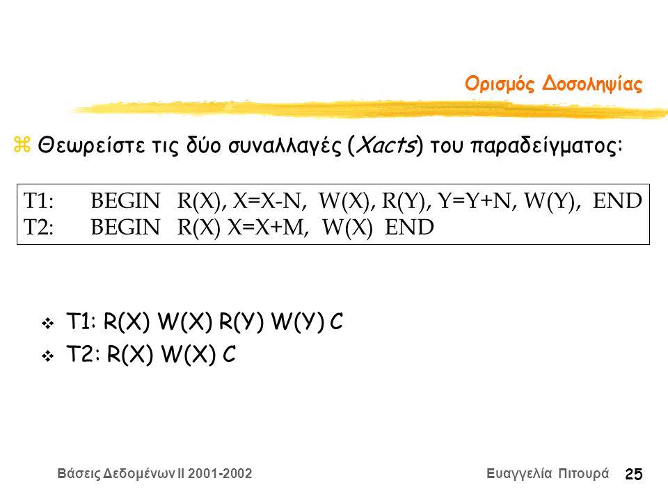 Βάσεις Δεδομένων II 2001-2002 Ευαγγελία Πιτουρά 25 Ορισμός Δοσοληψίας zΘεωρείστε τις δύο συναλλαγές (Xacts) του παραδείγματος: T1:BEGIN R(X), X=Χ-N, W(X), R(Y), Y=Y+N, W(Y), END T2:BEGIN R(X) X=X+M, W(X) END v Τ1: R(X) W(X) R(Y) W(Y) C v T2: R(X) W(X) C