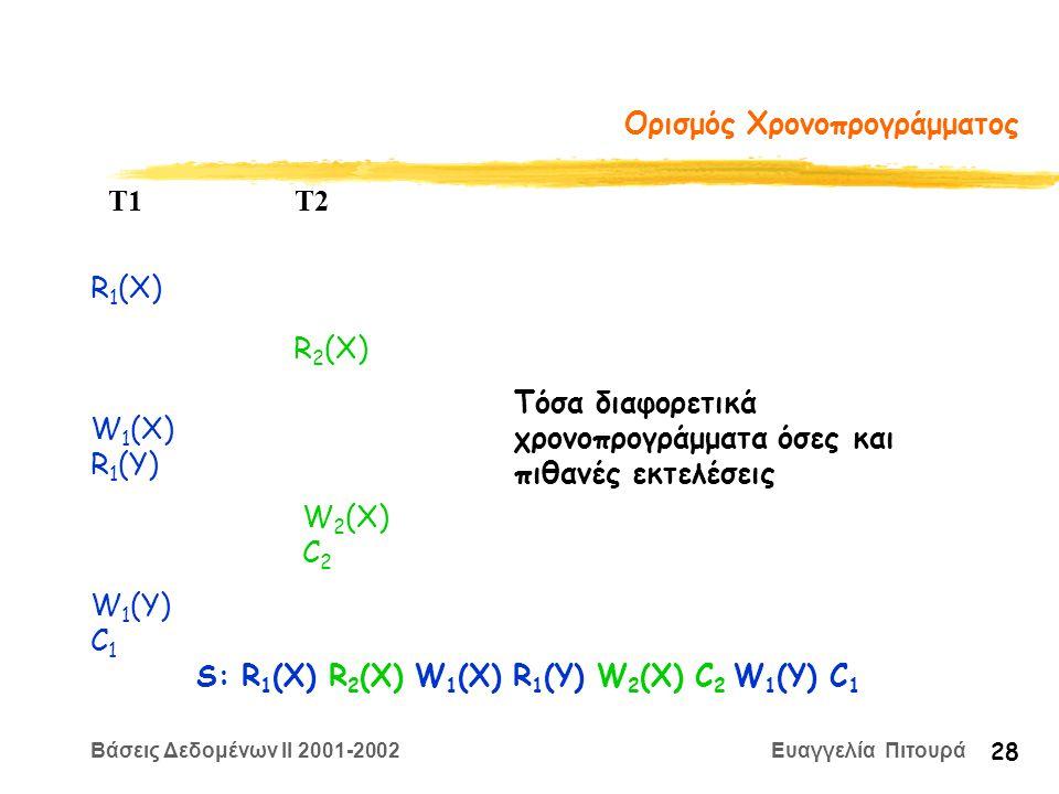 Βάσεις Δεδομένων II 2001-2002 Ευαγγελία Πιτουρά 28 Ορισμός Χρονοπρογράμματος R 1 (X) W 2 (X) C 2 T1 T2 W 1 (X) R 1 (Y) R 2 (X) W 1 (Y) C 1 S: R 1 (X) R 2 (X) W 1 (X) R 1 (Y) W 2 (X) C 2 W 1 (Y) C 1 Τόσα διαφορετικά χρονοπρογράμματα όσες και πιθανές εκτελέσεις