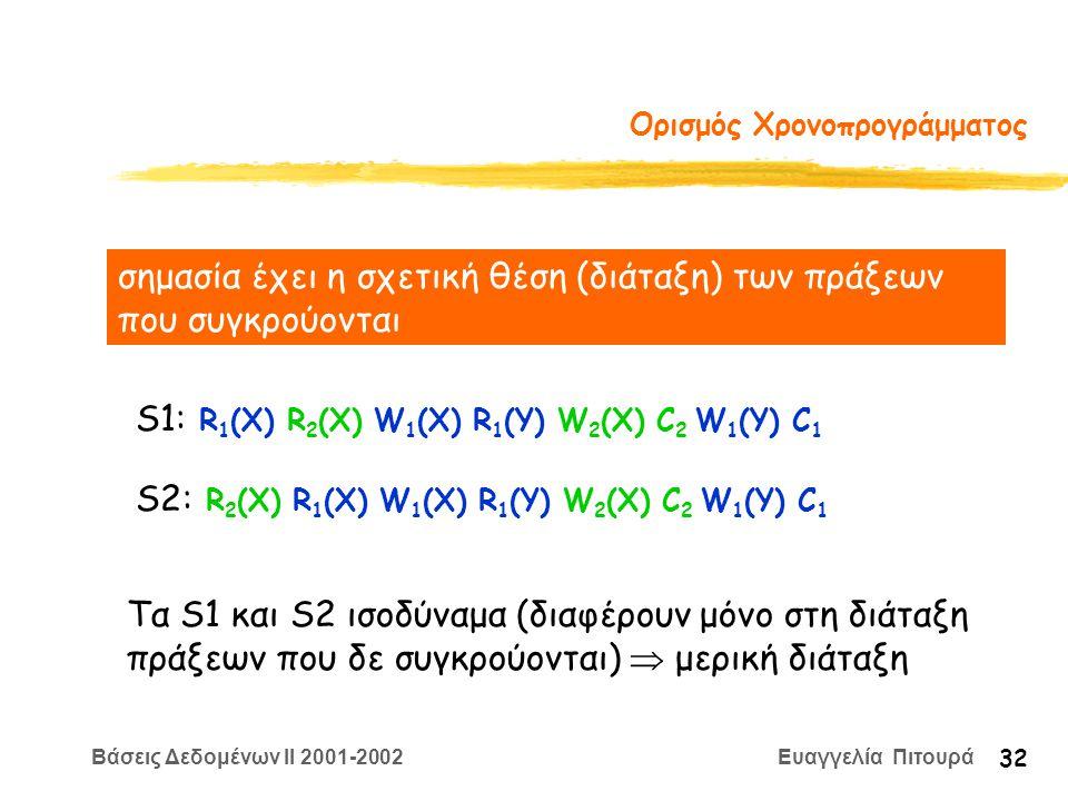 Βάσεις Δεδομένων II 2001-2002 Ευαγγελία Πιτουρά 32 Ορισμός Χρονοπρογράμματος σημασία έχει η σχετική θέση (διάταξη) των πράξεων που συγκρούονται S1: R 1 (X) R 2 (X) W 1 (X) R 1 (Y) W 2 (X) C 2 W 1 (Y) C 1 S2: R 2 (X) R 1 (X) W 1 (X) R 1 (Y) W 2 (X) C 2 W 1 (Y) C 1 Τα S1 και S2 ισοδύναμα (διαφέρουν μόνο στη διάταξη πράξεων που δε συγκρούονται)  μερική διάταξη