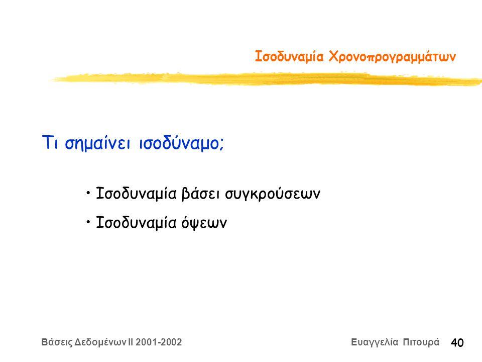 Βάσεις Δεδομένων II 2001-2002 Ευαγγελία Πιτουρά 40 Ισοδυναμία Χρονοπρογραμμάτων Τι σημαίνει ισοδύναμο; Ισοδυναμία βάσει συγκρούσεων Ισοδυναμία όψεων