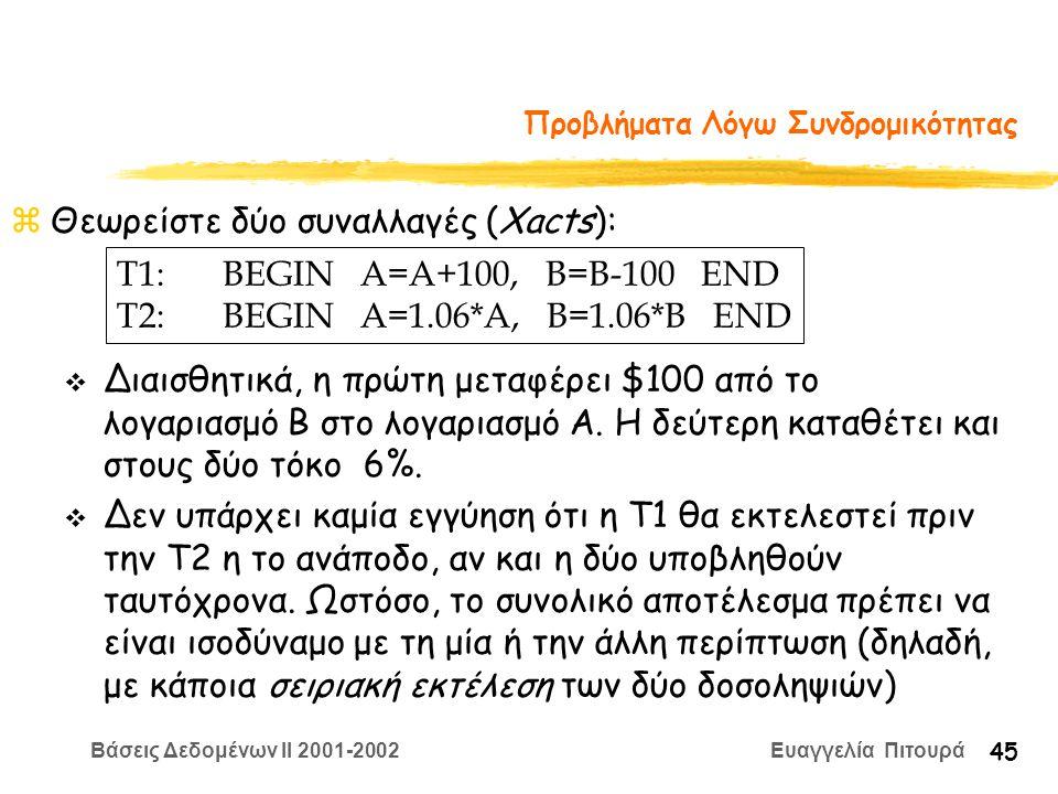 Βάσεις Δεδομένων II 2001-2002 Ευαγγελία Πιτουρά 45 Προβλήματα Λόγω Συνδρομικότητας zΘεωρείστε δύο συναλλαγές (Xacts): T1:BEGIN A=A+100, B=B-100 END T2:BEGIN A=1.06*A, B=1.06*B END v Διαισθητικά, η πρώτη μεταφέρει $100 από το λογαριασμό B στο λογαριασμό A.