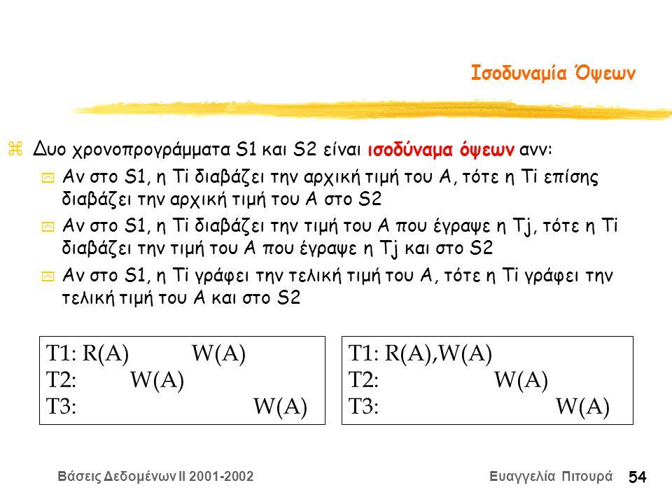 Βάσεις Δεδομένων II 2001-2002 Ευαγγελία Πιτουρά 54 Ισοδυναμία Όψεων zΔυο χρονοπρογράμματα S1 και S2 είναι ισοδύναμα όψεων ανν: y Αν στο S1, η Ti διαβάζει την αρχική τιμή του A, τότε η Ti επίσης διαβάζει την αρχική τιμή του A στο S2 y Αν στο S1, η Ti διαβάζει την τιμή του A που έγραψε η Tj, τότε η Ti διαβάζει την τιμή του A που έγραψε η Tj και στο S2 y Αν στο S1, η Ti γράφει την τελική τιμή του A, τότε η Ti γράφει την τελική τιμή του A και στο S2 T1: R(A) W(A) T2: W(A) T3: W(A) T1: R(A),W(A) T2: W(A) T3: W(A)