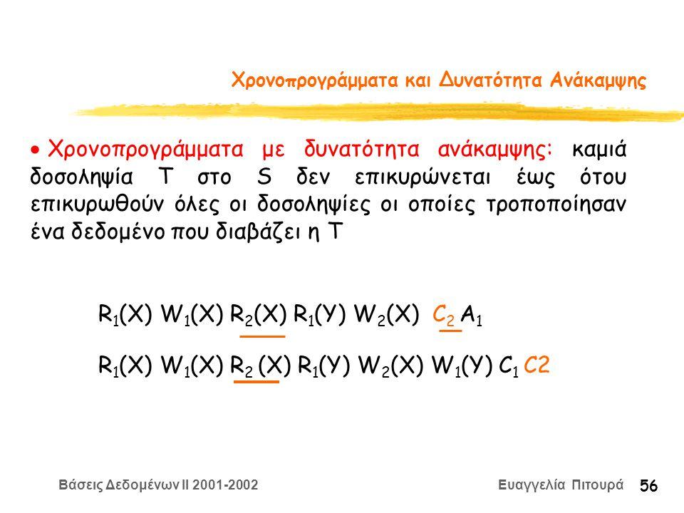 Βάσεις Δεδομένων II 2001-2002 Ευαγγελία Πιτουρά 56 Χρονοπρογράμματα και Δυνατότητα Ανάκαμψης  Χρονοπρογράμματα με δυνατότητα ανάκαμψης: καμιά δοσοληψία Τ στο S δεν επικυρώνεται έως ότου επικυρωθούν όλες οι δοσοληψίες οι οποίες τροποποίησαν ένα δεδομένο που διαβάζει η Τ R 1 (X) W 1 (X) R 2 (X) R 1 (Y) W 2 (X) C 2 A 1 R 1 (X) W 1 (X) R 2 (X) R 1 (Y) W 2 (X) W 1 (Y) C 1 C2