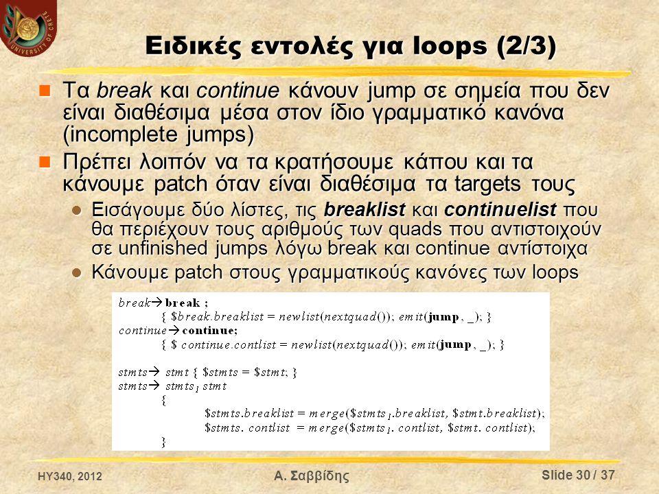 Ειδικές εντολές για loops (2/3) Τα break και continue κάνουν jump σε σημεία που δεν είναι διαθέσιμα μέσα στον ίδιο γραμματικό κανόνα (incomplete jumps) Τα break και continue κάνουν jump σε σημεία που δεν είναι διαθέσιμα μέσα στον ίδιο γραμματικό κανόνα (incomplete jumps) Πρέπει λοιπόν να τα κρατήσουμε κάπου και τα κάνουμε patch όταν είναι διαθέσιμα τα targets τους Πρέπει λοιπόν να τα κρατήσουμε κάπου και τα κάνουμε patch όταν είναι διαθέσιμα τα targets τους Εισάγουμε δύο λίστες, τις breaklist και continuelist που θα περιέχουν τους αριθμούς των quads που αντιστοιχούν σε unfinished jumps λόγω break και continue αντίστοιχα Εισάγουμε δύο λίστες, τις breaklist και continuelist που θα περιέχουν τους αριθμούς των quads που αντιστοιχούν σε unfinished jumps λόγω break και continue αντίστοιχα Κάνουμε patch στους γραμματικούς κανόνες των loops Κάνουμε patch στους γραμματικούς κανόνες των loops HY340, 2012 Α.