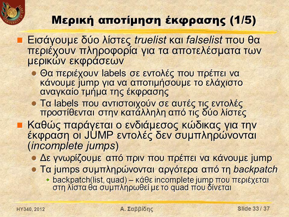 Μερική αποτίμηση έκφρασης (1/5) Εισάγουμε δύο λίστες truelist και falselist που θα περιέχουν πληροφορία για τα αποτελέσματα των μερικών εκφράσεων Εισάγουμε δύο λίστες truelist και falselist που θα περιέχουν πληροφορία για τα αποτελέσματα των μερικών εκφράσεων Θα περιέχουν labels σε εντολές που πρέπει να κάνουμε jump για να αποτιμήσουμε το ελάχιστο αναγκαίο τμήμα της έκφρασης Θα περιέχουν labels σε εντολές που πρέπει να κάνουμε jump για να αποτιμήσουμε το ελάχιστο αναγκαίο τμήμα της έκφρασης Τα labels που αντιστοιχούν σε αυτές τις εντολές προστίθενται στην κατάλληλη από τις δύο λίστες Τα labels που αντιστοιχούν σε αυτές τις εντολές προστίθενται στην κατάλληλη από τις δύο λίστες Καθώς παράγεται ο ενδιάμεσος κώδικας για την έκφραση οι JUMP εντολές δεν συμπληρώνονται (incomplete jumps) Καθώς παράγεται ο ενδιάμεσος κώδικας για την έκφραση οι JUMP εντολές δεν συμπληρώνονται (incomplete jumps) Δε γνωρίζουμε από πριν που πρέπει να κάνουμε jump Δε γνωρίζουμε από πριν που πρέπει να κάνουμε jump Τα jumps συμπληρώνονται αργότερα από τη backpatch Τα jumps συμπληρώνονται αργότερα από τη backpatch  backpatch(list, quad) – κάθε incomplete jump που περιέχεται στη λίστα θα συμπληρωθεί με το quad που δίνεται HY340, 2012 Α.