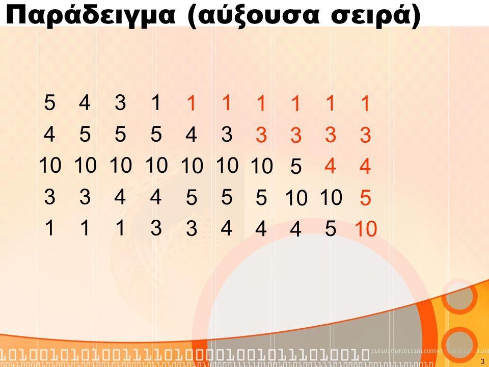 Πρόγραμμα σε C for(i=0;i<N-1;i++) for(k=i+1;k<N;k++) If (A[i]>A[k]){ temp=A[i]; A[i]=A[k]; A[k]=temp; } 4