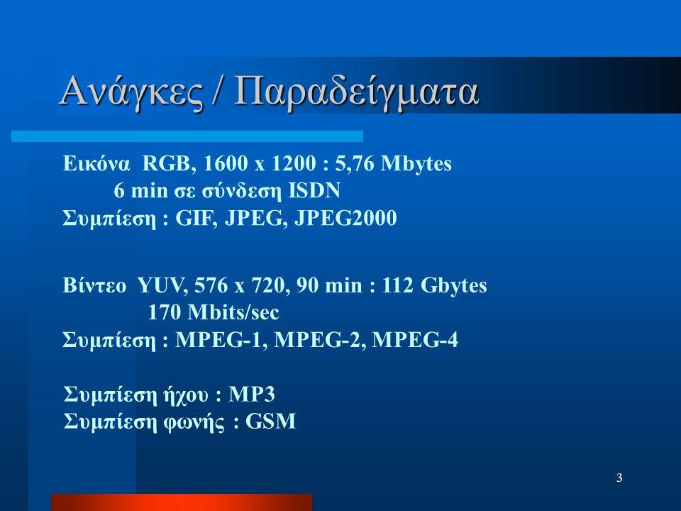 3 Ανάγκες / Παραδείγματα Εικόνα RGB, 1600 x 1200 : 5,76 Mbytes 6 min σε σύνδεση ISDN Συμπίεση : GIF, JPEG, JPEG2000 Βίντεο YUV, 576 x 720, 90 min : 11