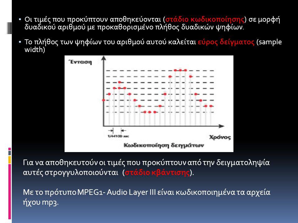 Οι τιμές που προκύπτουν αποθηκεύονται (στάδιο κωδικοποίησης) σε μορφή δυαδικού αριθμού με προκαθορισμένο πλήθος δυαδικών ψηφίων.