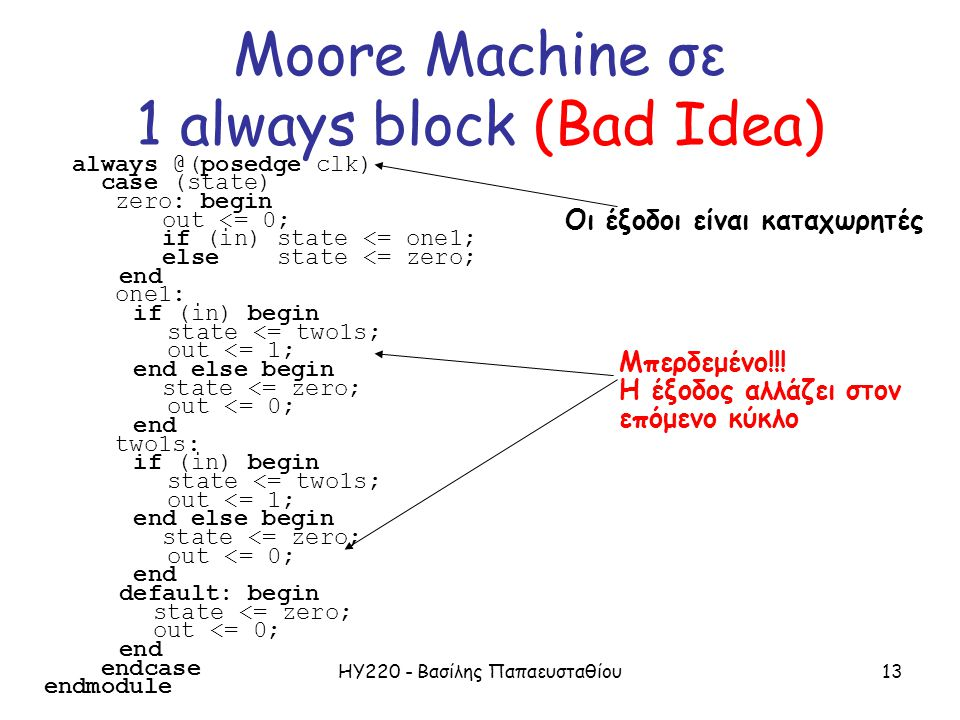 ΗΥ220 - Βασίλης Παπαευσταθίου13 always @(posedge clk) case (state) zero: begin out <= 0; if (in) state <= one1; else state <= zero; end one1: if (in)