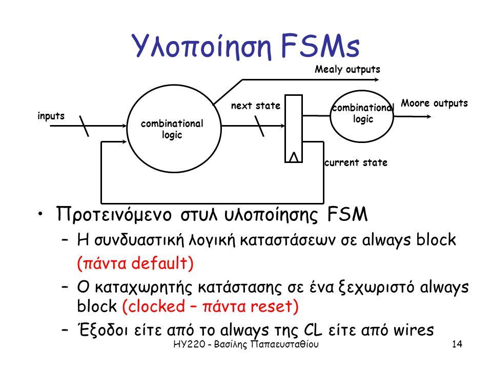 ΗΥ220 - Βασίλης Παπαευσταθίου14 Υλοποίηση FSMs Προτεινόμενο στυλ υλοποίησης FSM –Η συνδυαστική λογική καταστάσεων σε always block (πάντα default) –Ο κ