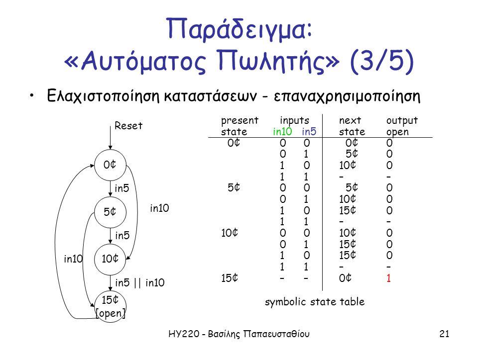 ΗΥ220 - Βασίλης Παπαευσταθίου21 Παράδειγμα: «Αυτόματος Πωλητής» (3/5) Ελαχιστοποίηση καταστάσεων - επαναχρησιμοποίηση symbolic state table presentinpu