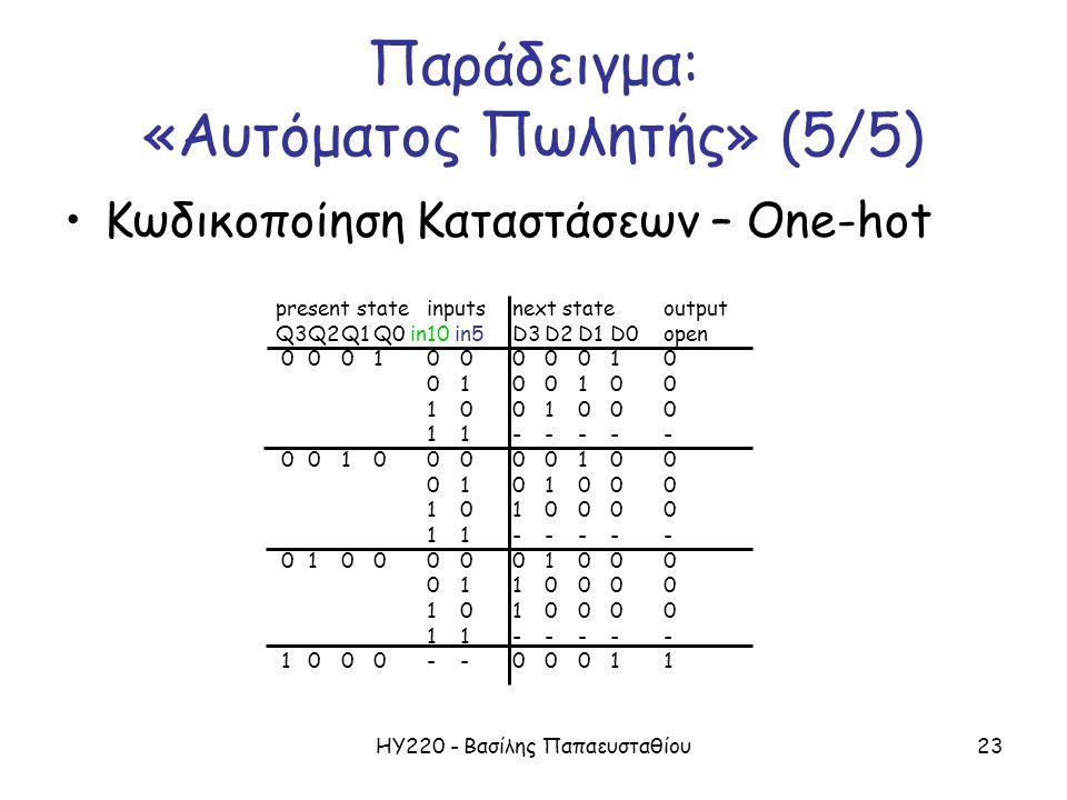 ΗΥ220 - Βασίλης Παπαευσταθίου23 present stateinputsnext stateoutput Q3Q2Q1Q0 in10 in5 D3D2D1D0open 00010000010 0100100 1001000 11----- 00100000100 010