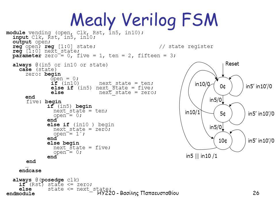 ΗΥ220 - Βασίλης Παπαευσταθίου26 7 module vending (open, Clk, Rst, in5, in10); input Clk, Rst, in5, in10; output open; reg open; reg [1:0] state;// sta