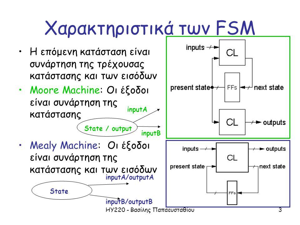 ΗΥ220 - Βασίλης Παπαευσταθίου3 Χαρακτηριστικά των FSM Η επόμενη κατάσταση είναι συνάρτηση της τρέχουσας κατάστασης και των εισόδων Moore Machine: Οι έ