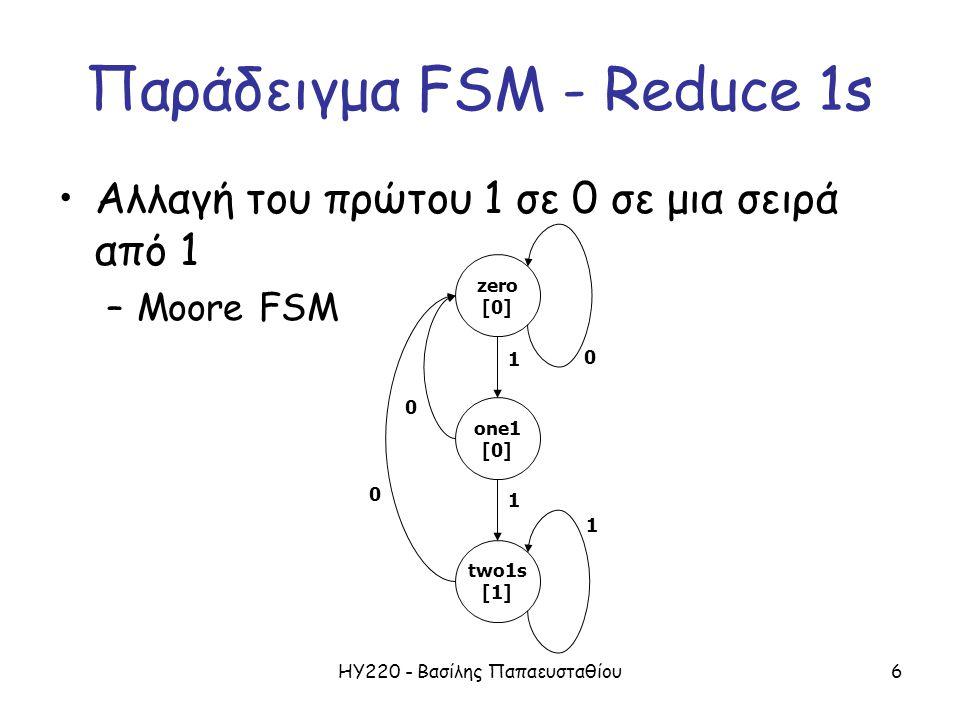 ΗΥ220 - Βασίλης Παπαευσταθίου6 Παράδειγμα FSM - Reduce 1s Αλλαγή του πρώτου 1 σε 0 σε μια σειρά από 1 –Moore FSM 1 0 0 0 1 1 zero [0] one1 [0] two1s [