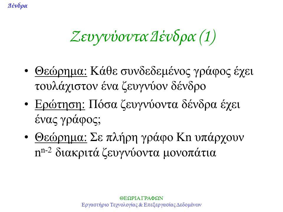 Δένδρα ΘΕΩΡΙΑ ΓΡΑΦΩΝ Εργαστήριο Τεχνολογίας & Επεξεργασίας Δεδομένων Ζευγνύoντα Δένδρα (1) Θεώρημα: Κάθε συνδεδεμένος γράφος έχει τουλάχιστον ένα ζευγνύον δένδρο Ερώτηση: Πόσα ζευγνύοντα δένδρα έχει ένας γράφος; Θεώρημα: Σε πλήρη γράφο Kn υπάρχουν n n-2 διακριτά ζευγνύοντα μονοπάτια