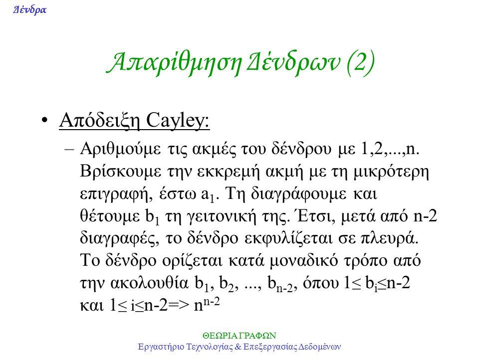 Δένδρα ΘΕΩΡΙΑ ΓΡΑΦΩΝ Εργαστήριο Τεχνολογίας & Επεξεργασίας Δεδομένων Απαρίθμηση Δένδρων (2) Απόδειξη Cayley: –Αριθμούμε τις ακμές του δένδρου με 1,2,...,n.
