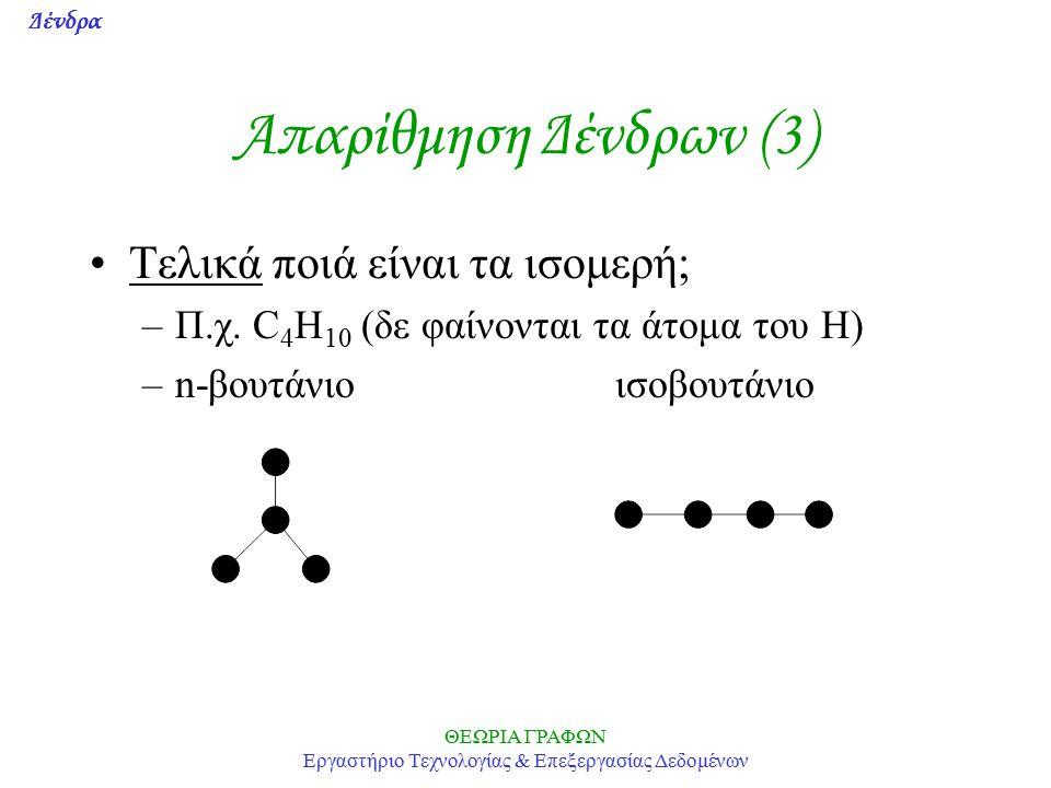 Δένδρα ΘΕΩΡΙΑ ΓΡΑΦΩΝ Εργαστήριο Τεχνολογίας & Επεξεργασίας Δεδομένων Απαρίθμηση Δένδρων (3) Τελικά ποιά είναι τα ισομερή; –Π.χ.