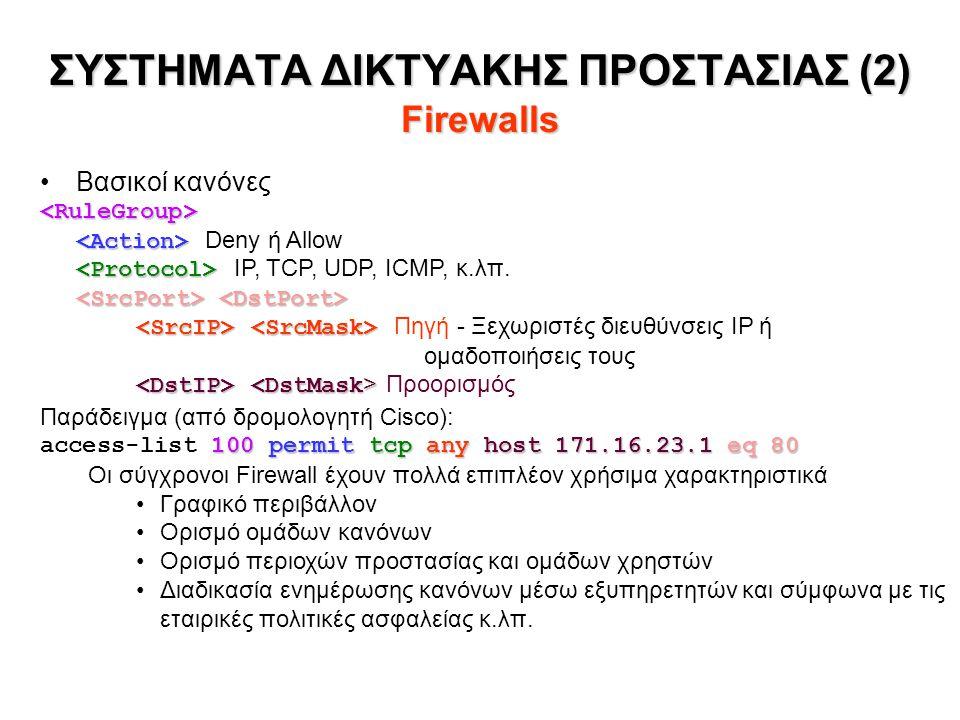 Βασικοί κανόνες Deny ή Allow IP, TCP, UDP, ICMP, κ.λπ.