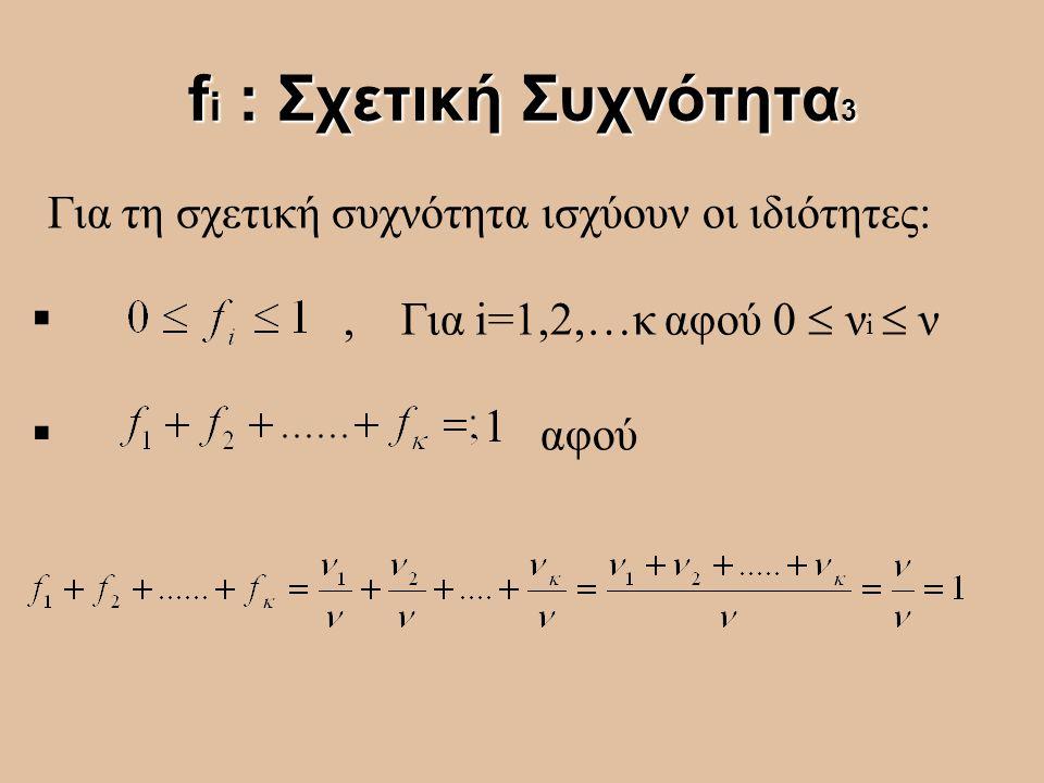 f i : Σχετική Συχνότητα 3 Για τη σχετική συχνότητα ισχύουν οι ιδιότητες: , Για i=1,2,…κ αφού 0  ν i  ν  αφού 1