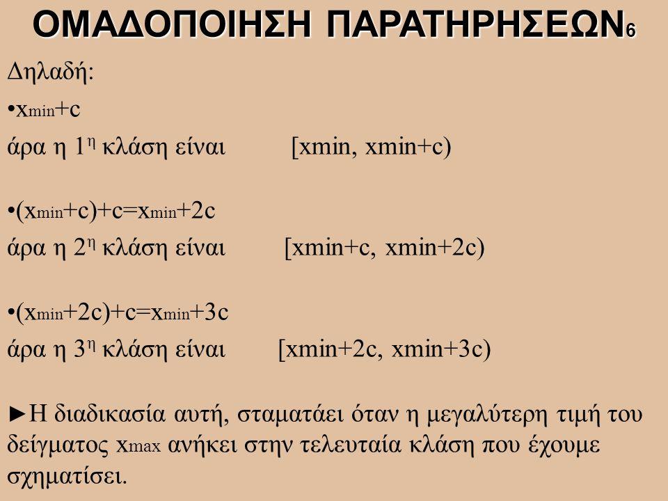 Δηλαδή: x min +c άρα η 1 η κλάση είναι [xmin, xmin+c) (x min +c)+c=x min +2c άρα η 2 η κλάση είναι [xmin+c, xmin+2c) (x min +2c)+c=x min +3c άρα η 3 η