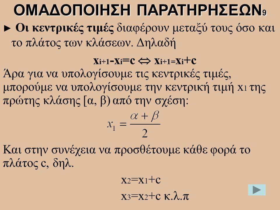 ► Οι κεντρικές τιμές διαφέρουν μεταξύ τους όσο και το πλάτος των κλάσεων. Δηλαδή x i+1 -x i =c  x i+1= x i +c ΟΜΑΔΟΠΟΙΗΣΗ ΠΑΡΑΤΗΡΗΣΕΩΝ 9 Άρα για να υ